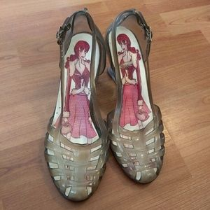 Shoes - Transparent jelly-type wedge shoes, size 7